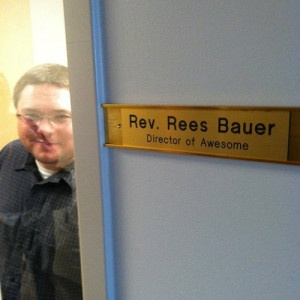 The world's coolest job title. Even better than @kr8tr's! Rees Bauer, Director of Awesome, (runs the network at @blendec).