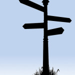 Illustration of a Silhouette of a road sign pointing in four different directions.